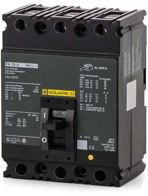FAL34070 - Square D 70 Amp 3 Pole 480 Volt Lug Molded Case Circuit Breaker