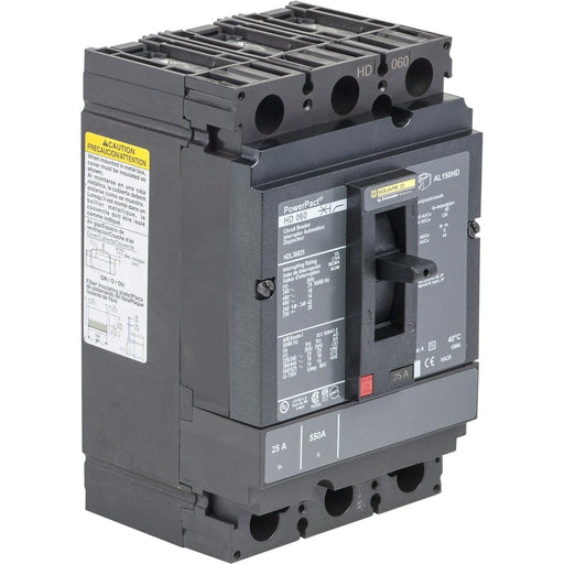HJL36025 - Square D 25 Amp 3 Pole 600 Volt Molded Case Circuit Breaker