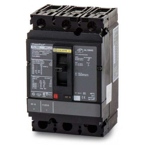 HJL36090 - Square D 90 Amp 3 Pole 600 Volt Thermal Magnetic Molded Case Circuit Breaker