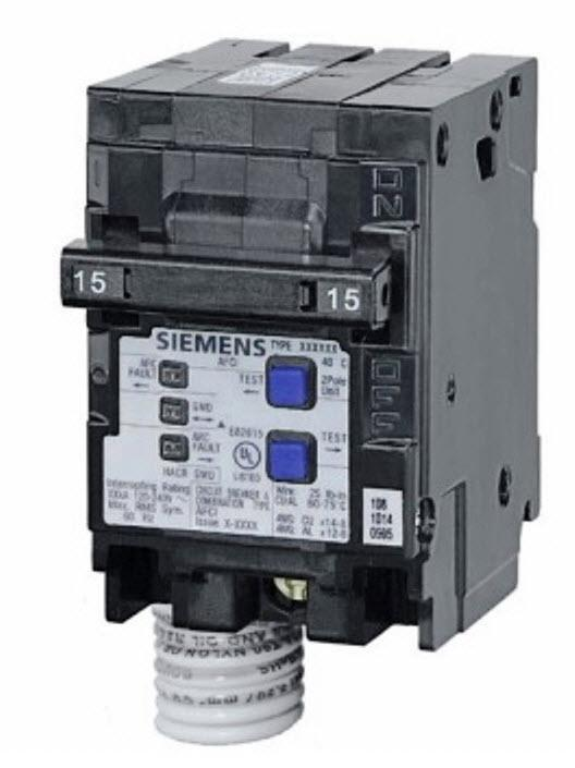 Q215AFC - Siemens 15-Amp 2 Pole 120-Volt Combination Type Arc Fault Circuit