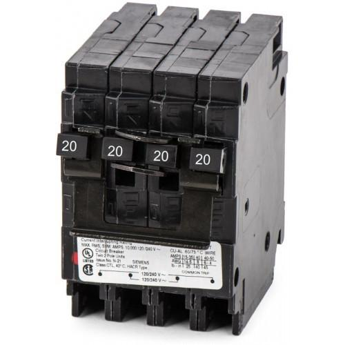 Q22020CT2 - Siemens 20 Amp 2 Pole 240 Volt Plug-In Molded Case Circuit Breaker