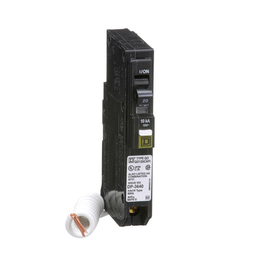 QO120CAFI - Square D 20 Amp Single Pole Arc Fault Circuit Breaker