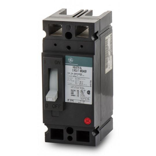 TED124080WL - GE 80 Amp 2 Pole 480 Volt Molded Case Circuit Breaker General Electric Lug