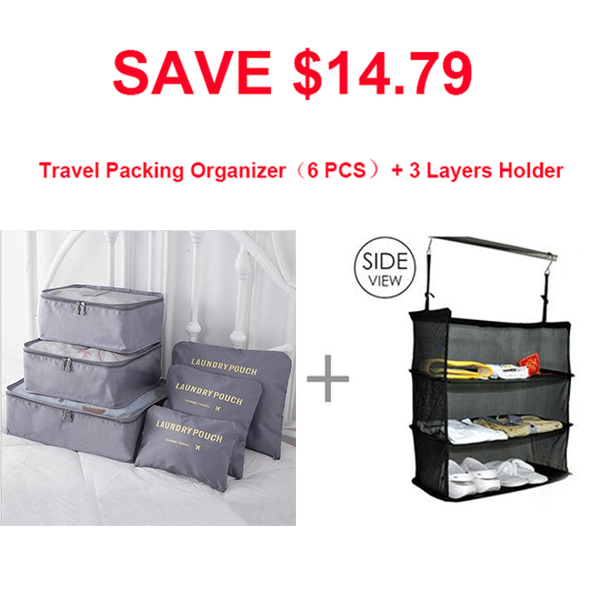 3 Layers Portable Travel Storage Rack Holder-Home & Garden-airvog.com-C: SAVE $14.79 3 Layers Holder +Travel Packing Organizer(6 PCS)-airvog