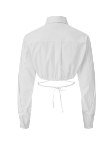 Long Sleeve Cropped White Poplin Button Up