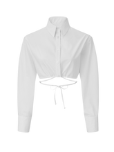 Load image into Gallery viewer, Long Sleeve Cropped White Poplin Button Up