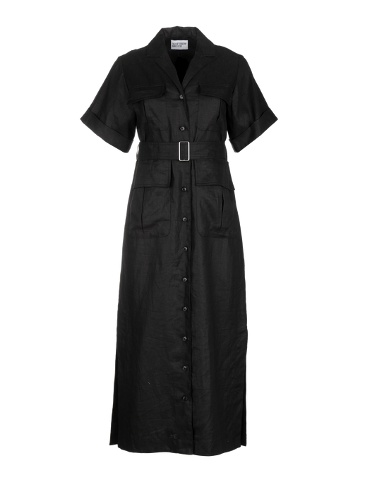 Safari Black Linen Midi Dress
