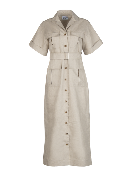 Safari Oatmeal Linen Midi Dress