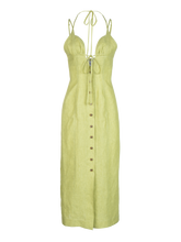 Load image into Gallery viewer, Tie Halter Celery Linen Midi Dress