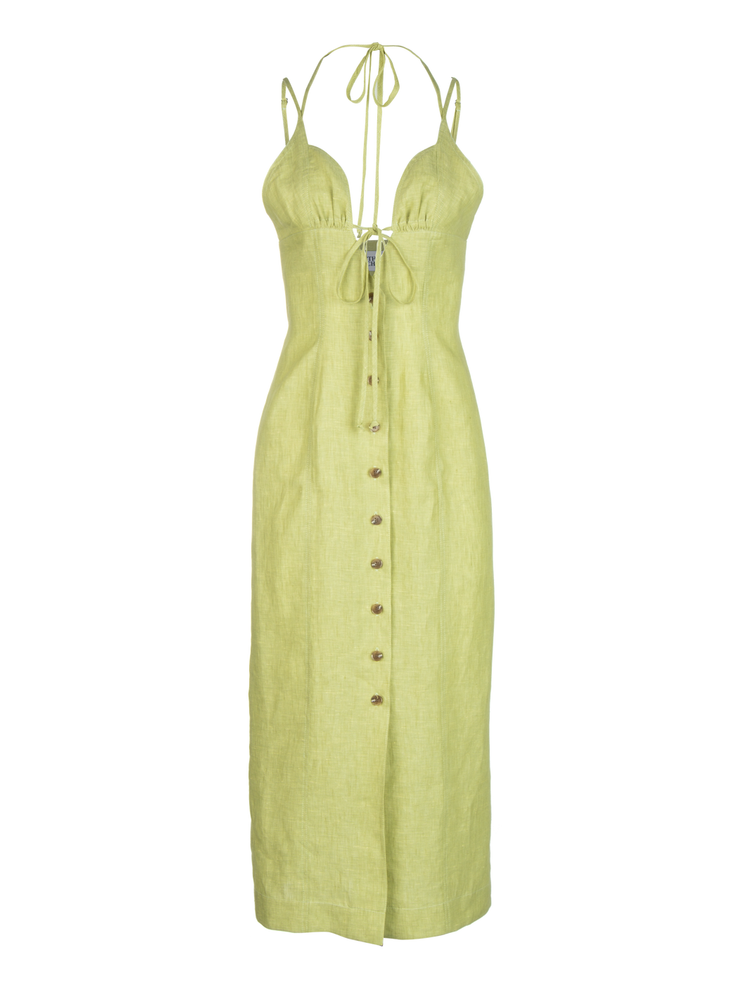 Tie Halter Celery Linen Midi Dress