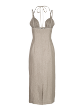 Load image into Gallery viewer, Tie Halter Oatmeal Linen Midi Dress
