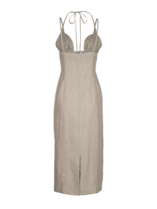 Tie Halter Oatmeal Linen Midi Dress