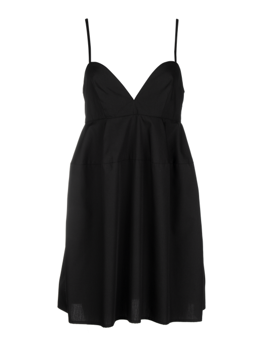 Sweet Heart Black Poplin Mini Dress