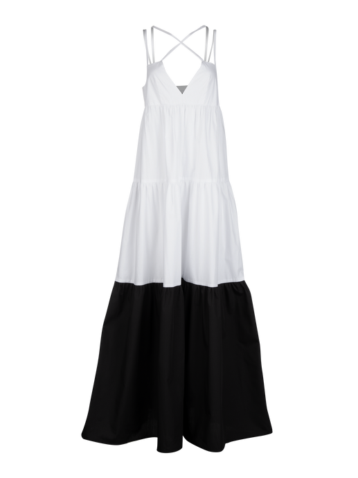 Cross Strap White Poplin Maxi Dress