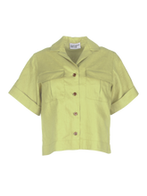 Load image into Gallery viewer, Safari Celery Linen Shirt