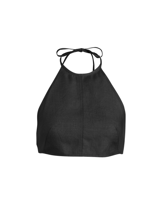 Halter Black Linen Crop Top