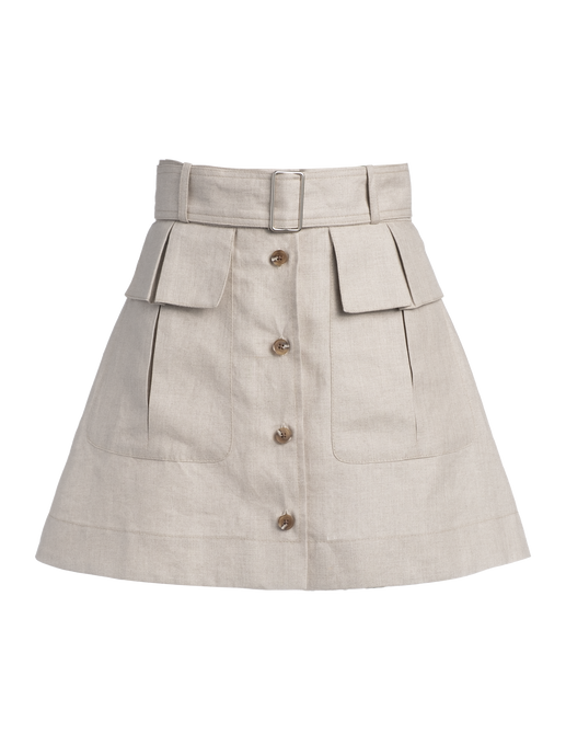 Cargo Oatmeal Linen Mini Skirt