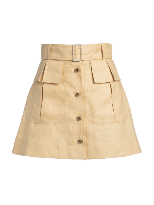 Cargo Pale Yellow Linen Mini Skirt
