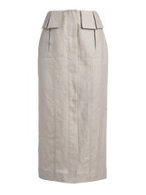 Load image into Gallery viewer, Cargo Oatmeal Linen Midi Skirt