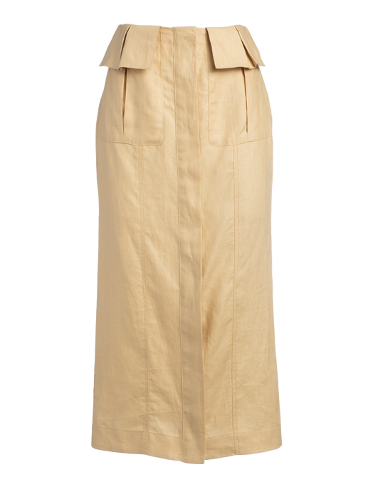 Cargo Pale Yellow Linen Midi Skirt