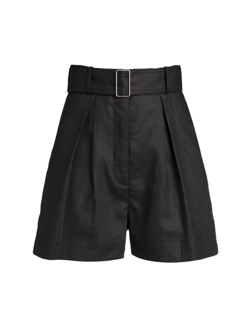 Pleated Black Linen Short