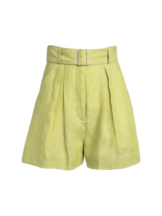 Pleated Celery Linen Short