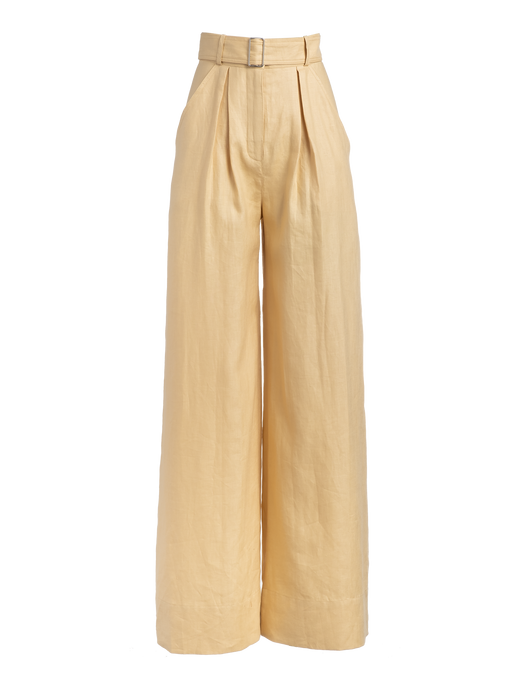 Wide Leg Pale Yellow Linen Pant