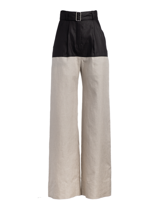 Colorblock Black Linen Pant
