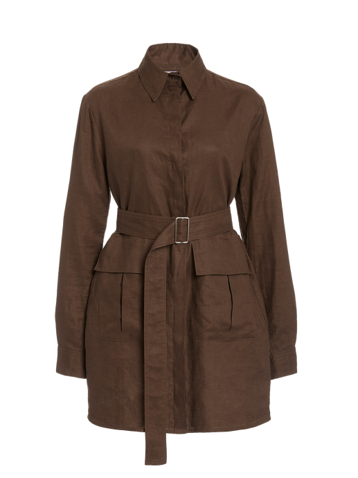 Cargo Brown Linen Shirt Dress