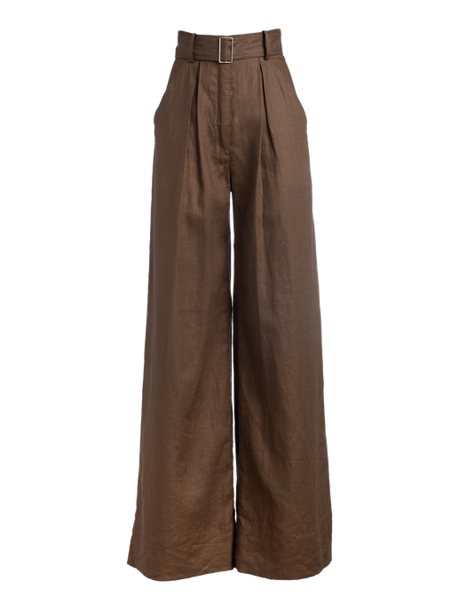 Wide Leg Brown Linen Pant