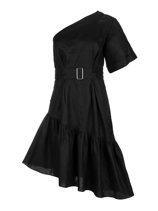 One Shoulder Black Linen Paper Bag Dress
