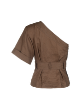 Load image into Gallery viewer, One Shoulder Brown Linen Paper Bag Top