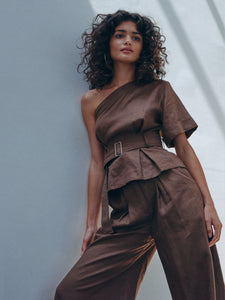 One Shoulder Brown Linen Paper Bag Top