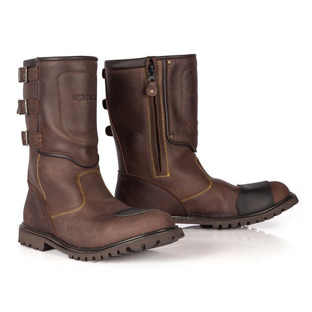Spada Foundry Waterproofed Motorcycle Boots, Brown - Foxxmoto