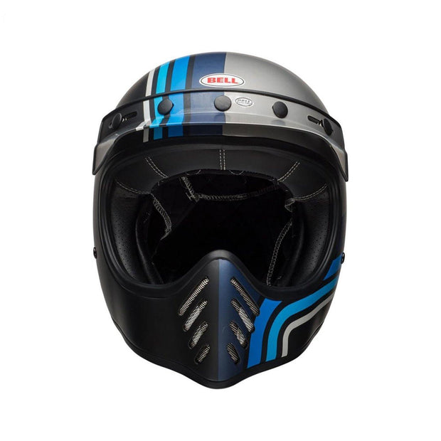 Bell Cruiser Moto 3 Helmet, Stripes Silver, Black & Blue - Foxxmoto