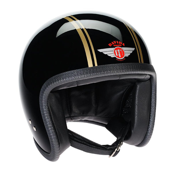 Davida 92 Helmet, Black Gold Pin Stripe - Foxxmoto