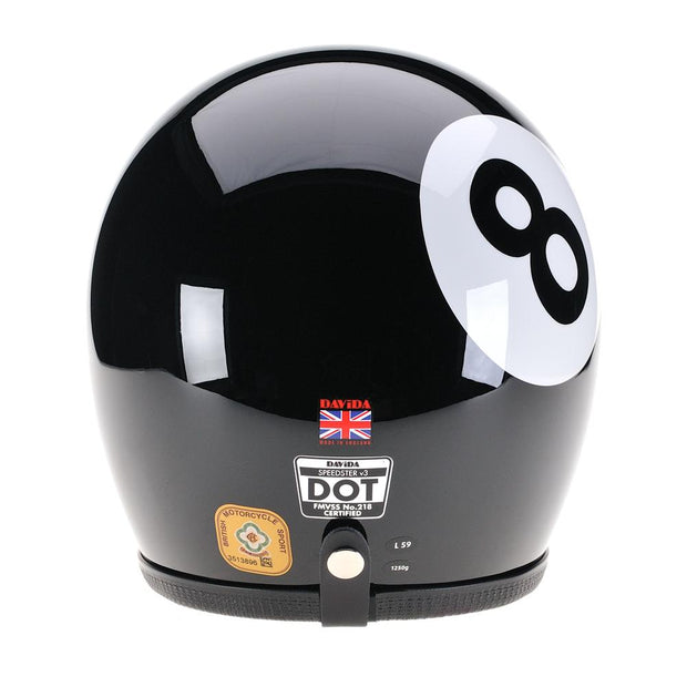 Davida 92 Helmet, Black Eight Ball - Foxxmoto