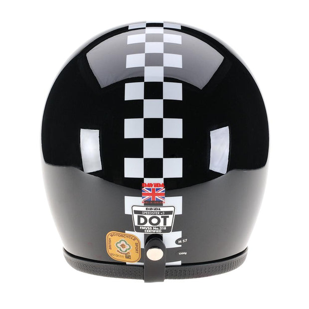 Davida Speedster 3 Helmet, Black, White Chequered Stripe - Foxxmoto