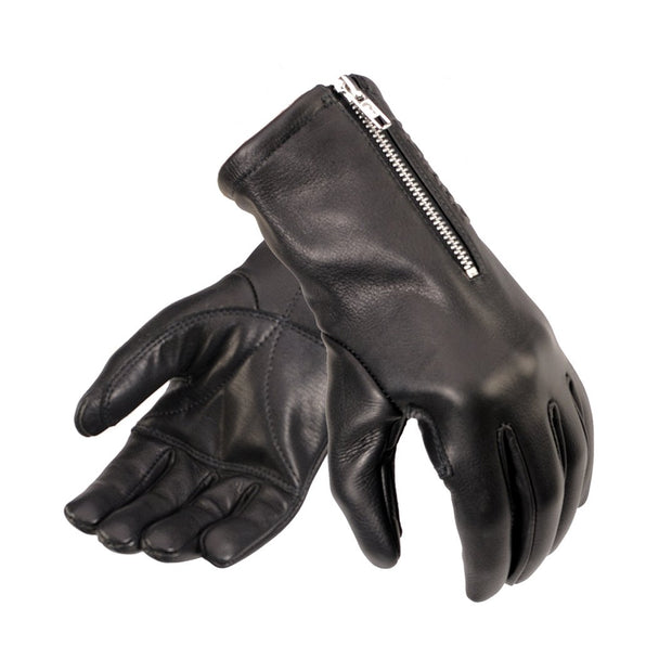 Davida 45 Racer, Leather Gloves, Black - Foxxmoto