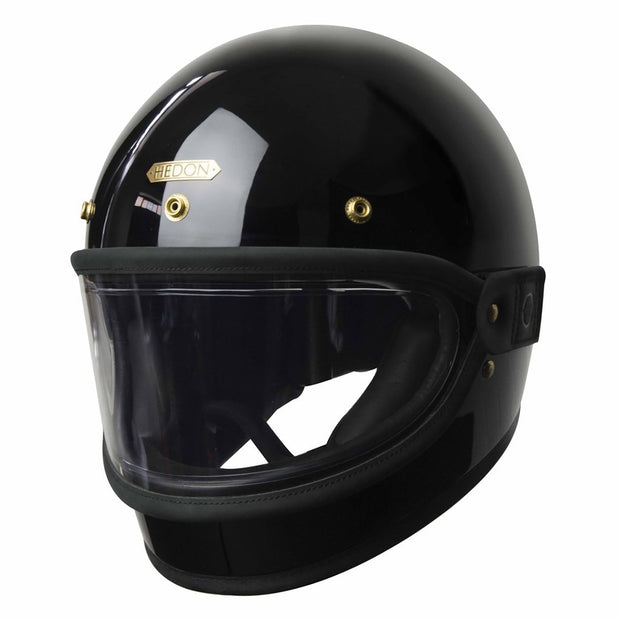 Hedon Heroine Goggle Visor, Black Trim & Coffee Haze Lens with steel rivets - Foxxmoto