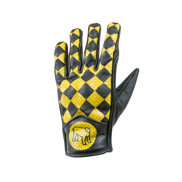 Holy Freedom Bullit Unsulto, Leather Motorcycle Gloves, Black & Yellow Chequer - Foxxmoto
