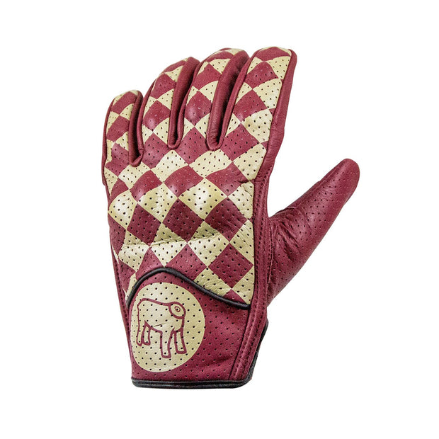 Holy Freedom Bullit Unsulto, Leather Motorcycle Gloves, Cream/Red Chequer - Foxxmoto