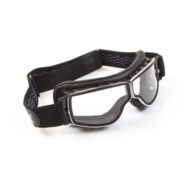 Leon Jeantet Aviator T2 (for spectacles) Goggles, Chrome & Black Leather - Foxxmoto