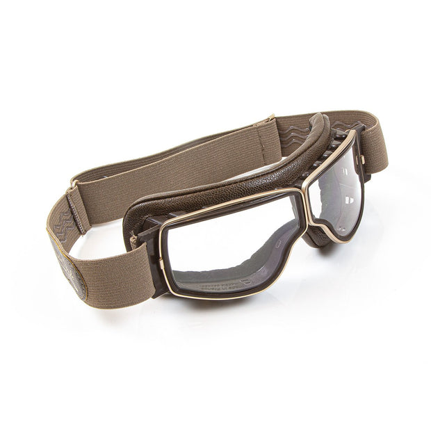 Leon Jeantet Aviator T3 Goggles, Gold & Brown Leather - Foxxmoto