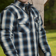 Merlin Axe, Armoured Kevlar Lined Riding Shirt, Light Blue Chequer - Foxxmoto