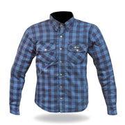 Merlin Axe, Armoured Kevlar Lined Riding Shirt, Blue Chequer - Foxxmoto