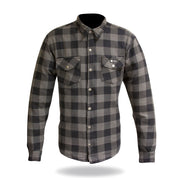 Merlin Axe, Armoured Kevlar Lined Riding Shirt, Grey Chequer - Foxxmoto
