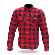 Merlin Axe, Armoured Kevlar Lined Riding Shirt, Red Chequer - Foxxmoto