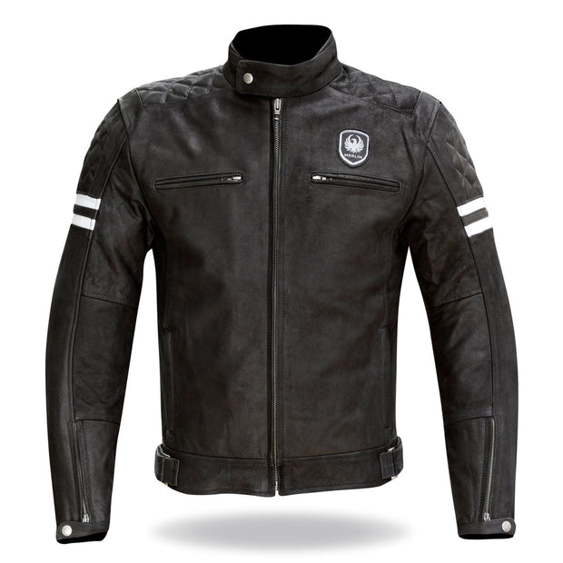 Merlin Hixon, Leather Armoured Motorcycle Jacket - Foxxmoto