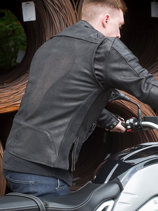Merlin Draycott, Leather Armoured Motorcycle Jacket - Foxxmoto